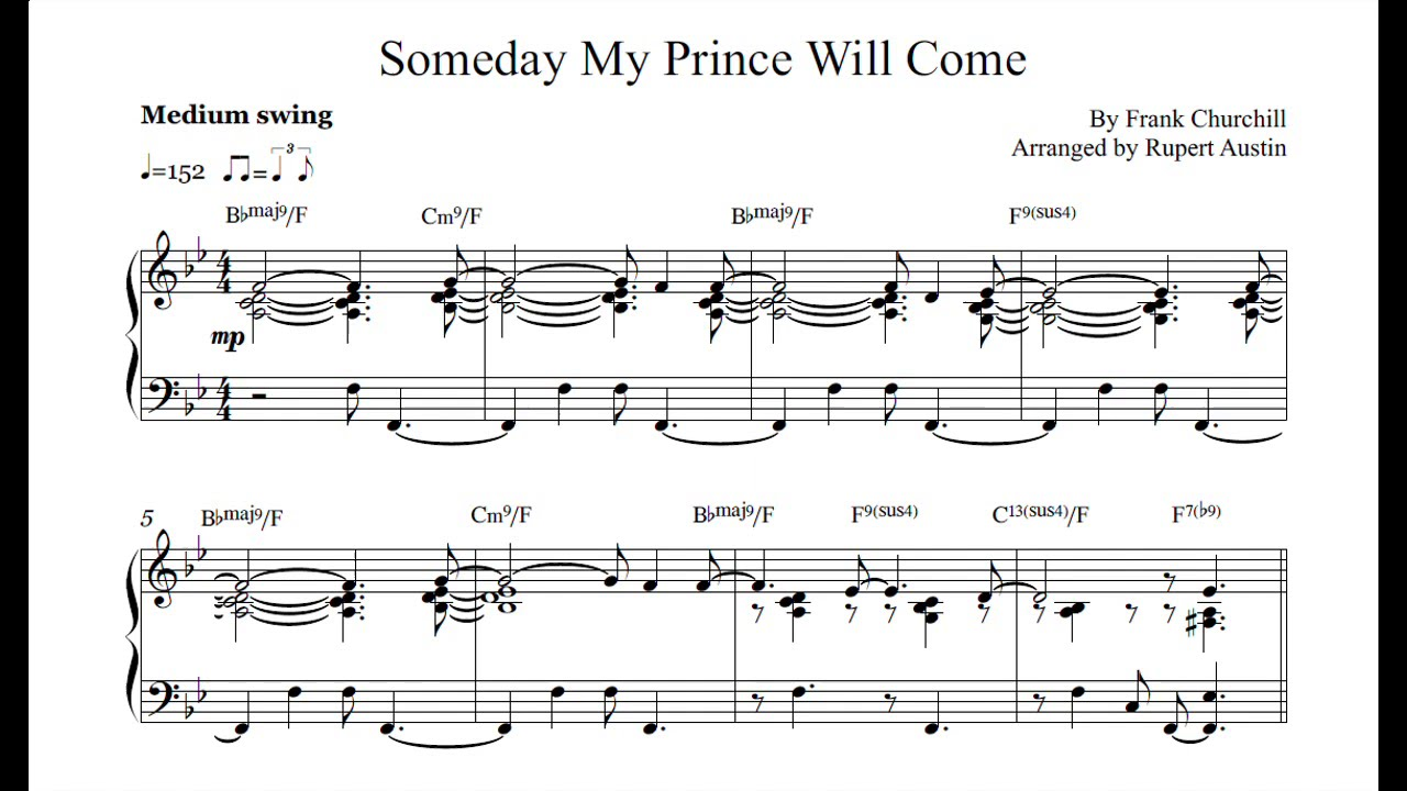 Someday My Prince Will Come Arranged For Solo Piano Youtube