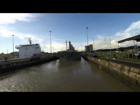 Panama Canal - Miraflores Locks with Dry Goods Ship
