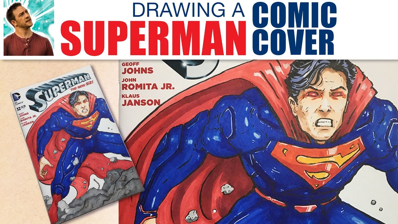 Drawing A Superman Comic Book Cover Youtube