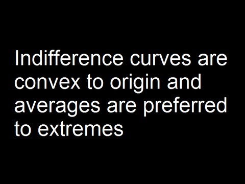 Indifference curves are convex to origin and averages are preferred to extremes