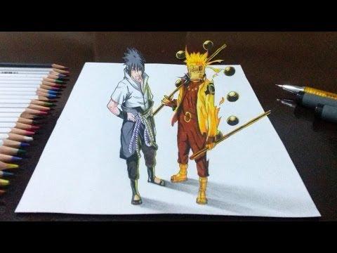 Desenhando Naruto Rikudou Sennin e Sasuke Rinnegan Supremo em 3D