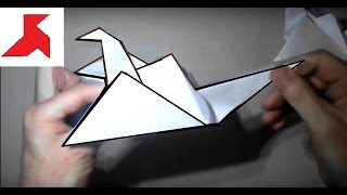 Как сделать оригами журавлика из бумаги А4?