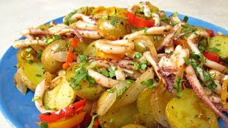 Sauteed Squid with Onions, Potatoes and Peppers