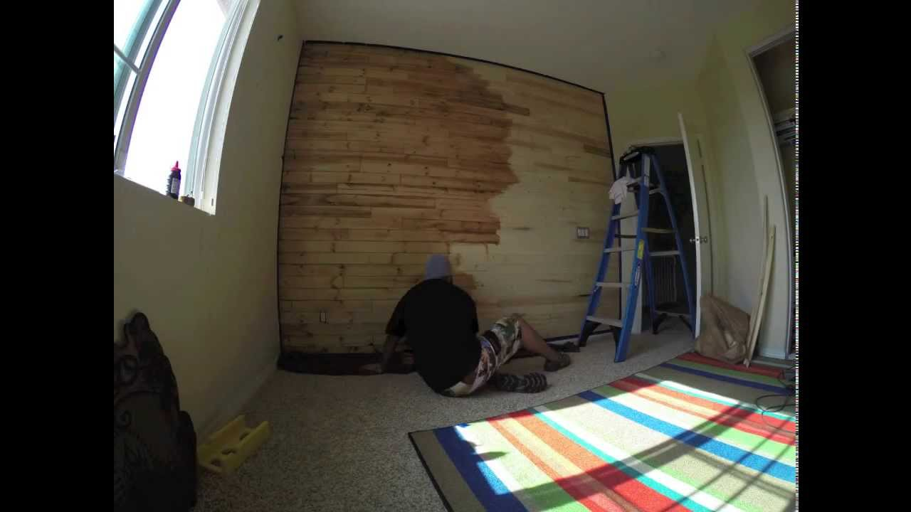 Time Lapse video of me staining my sons wood paneled