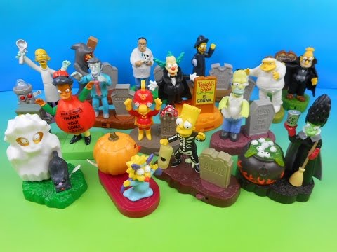 2001 THE SIMPSONS SPOOKY LIGHT-UPS SETOF 15 BURGER KING KID'S MEAL TOY'S VIDEO REVIEW