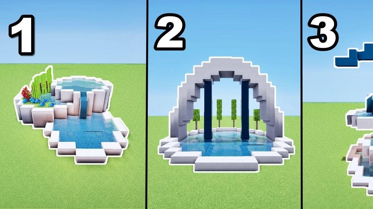 jardin minecraft TUTO 3 FONTAINES MODERNES MINECRAFT !!