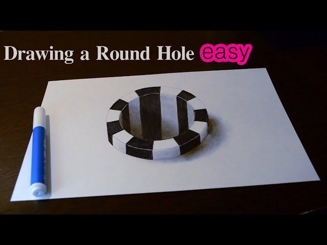 Простая 3D Иллюзия Как рисовать объемный рисунок / Hole 3D Trick Art on Paper