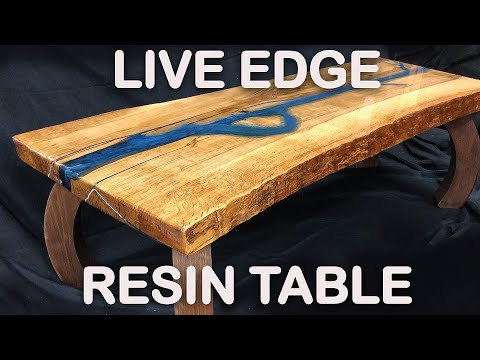 Live Edge Epoxy Resin River Table - White Oak Slab