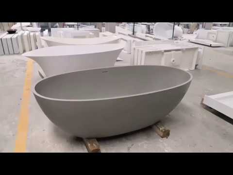 SALE! Best KKR Solid Surface Resin Contemporary Bathware Freestanding Soaking Tub
