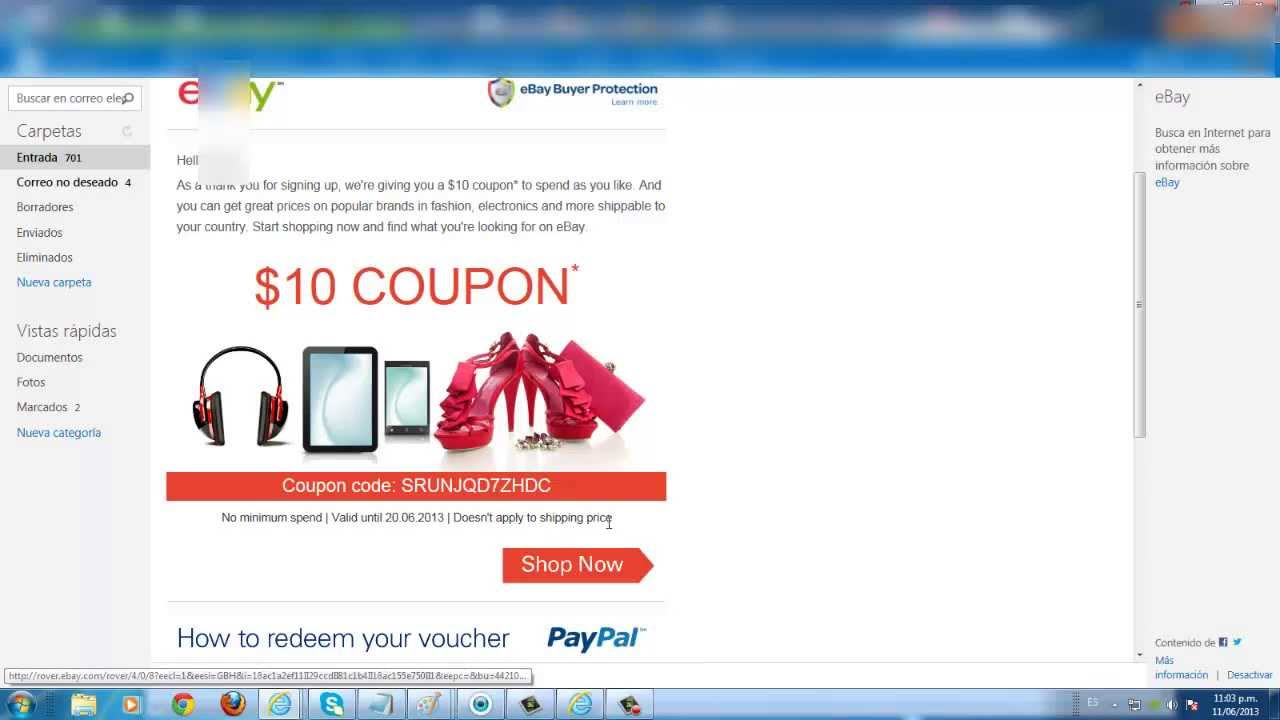 new cupon paypal ebay 10 dolares gratis junio 2013 youtube