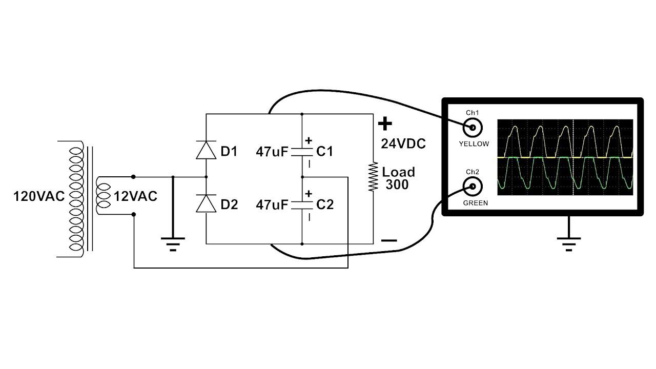 Voltage Doubler Circuit Build Oscilloscope Demo
