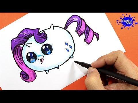 How to Draw Rarity (Tsum Tsum) / Como Dibujar a Rarity (Tsum Tsum ...