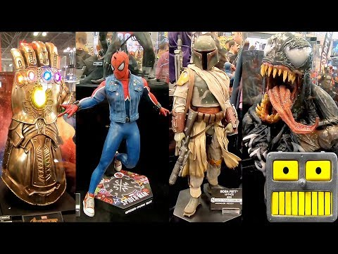 2018 New York Comic Con Sideshow Booth Tour Hot Toys NYCC Star Wars Avengers Figures Statues Video