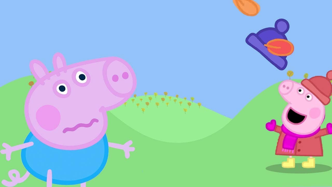 Peppa Pig Official | George Loses His Hat! | Autumn Clips