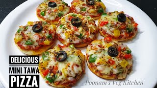 Mini Pizza On Tawa Recipe -Vegetable Mini Pizza Without Oven -Kids' Special Delicious homemade Pizza