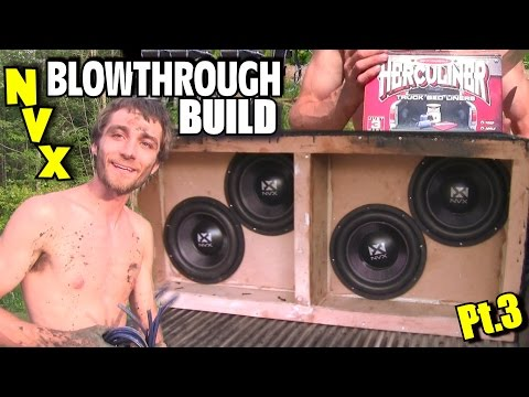 nvx-blowthrough-build-pt.3-|-bracing-subwoofer-box-|-bed-liner-&-wiring-dual-2-ohm-voice-coil-subs