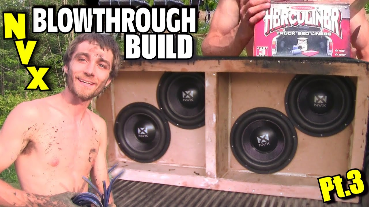 hight resolution of nvx blowthrough build pt 3 bracing subwoofer box bed liner wiring dual 2 ohm voice coil subs