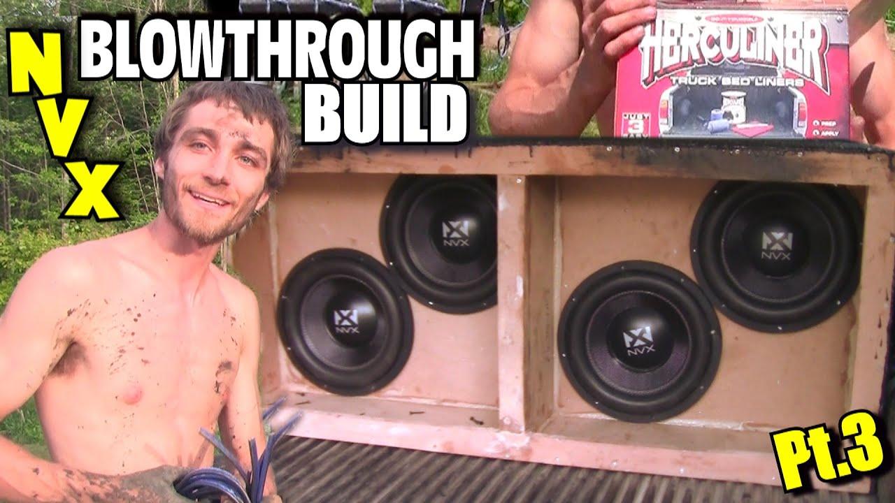 nvx blowthrough build pt 3 bracing subwoofer box bed liner wiring dual 2 ohm voice coil subs [ 1280 x 720 Pixel ]