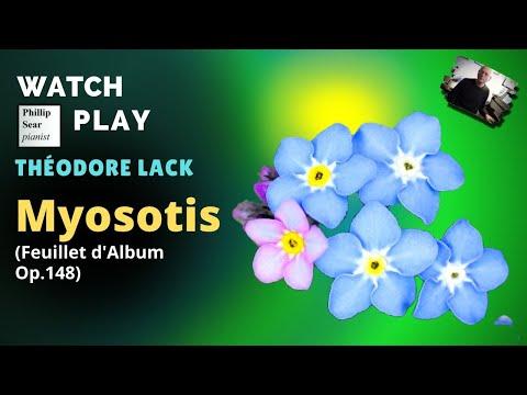 Théodore Lack : Myosotis (Forget-me-not), Feullet d'Album ... Theodore Lack