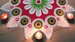 Simple rangoli design using spoon   दिवाळी रांगोळी   Laxmi Pooja & Diwali 2019 Rangoli by Sangeeta