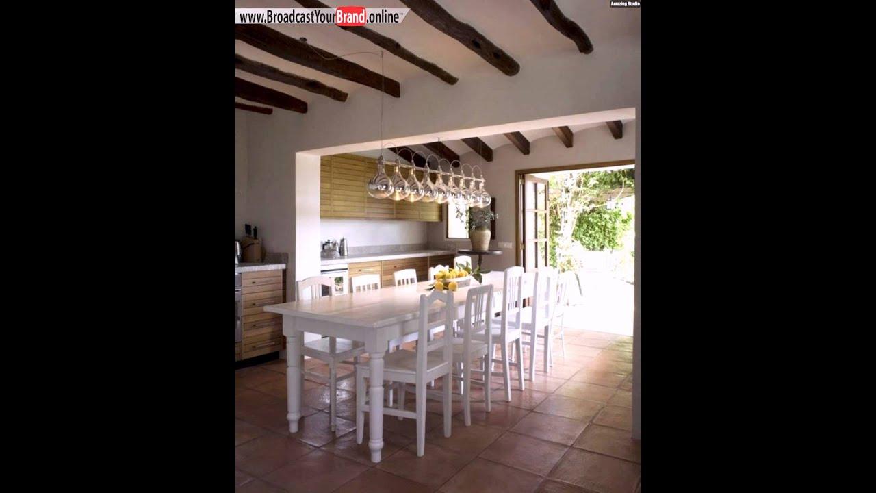 Wohnideen Küche Landhaus Stil Dachbalken Weiße Essmöbel - YouTube