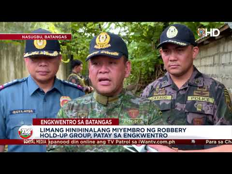 5 miyembro ng robbery group, patay sa engkuwentro sa Batangas