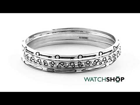 Ladies Disney Couture Silver Plated Alice in Wonderland set of 4 Bangles (DYB0350)