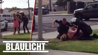 US-Cops verprügeln Hausfrau und Mutter - Augenzeugenvideo ( Dashcam / Handy / Carlsbad )
