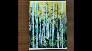 How to Paint Forest Trees with Acrylics and Masking Tape Demo | Easy Painting Series
