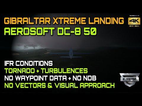 AS DC-8 50 Gibraltar Xtreme Landing Tornado P3D V4.2 4K