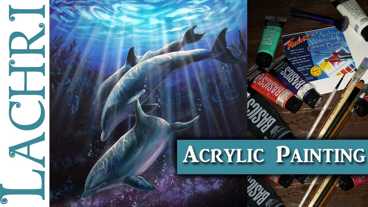 How to paint dolphins and rays of light acrylic painting for How to start acrylic painting