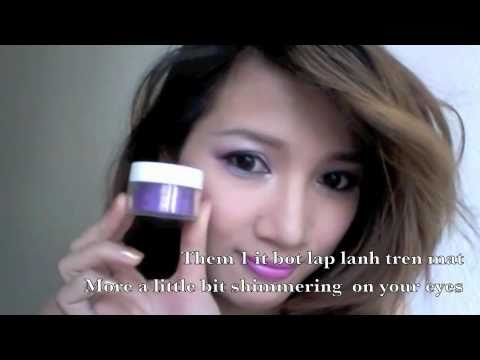 Trang diem mat mau tim de thuong - Purple Smokey Eyes Makeup