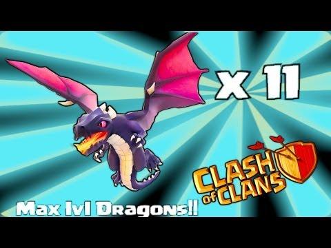 Clash of clans - 11 level 4 Dragon raid GAMEPLAY