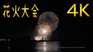 Small fireworks display in the small town seen at a seaside 4K UHD