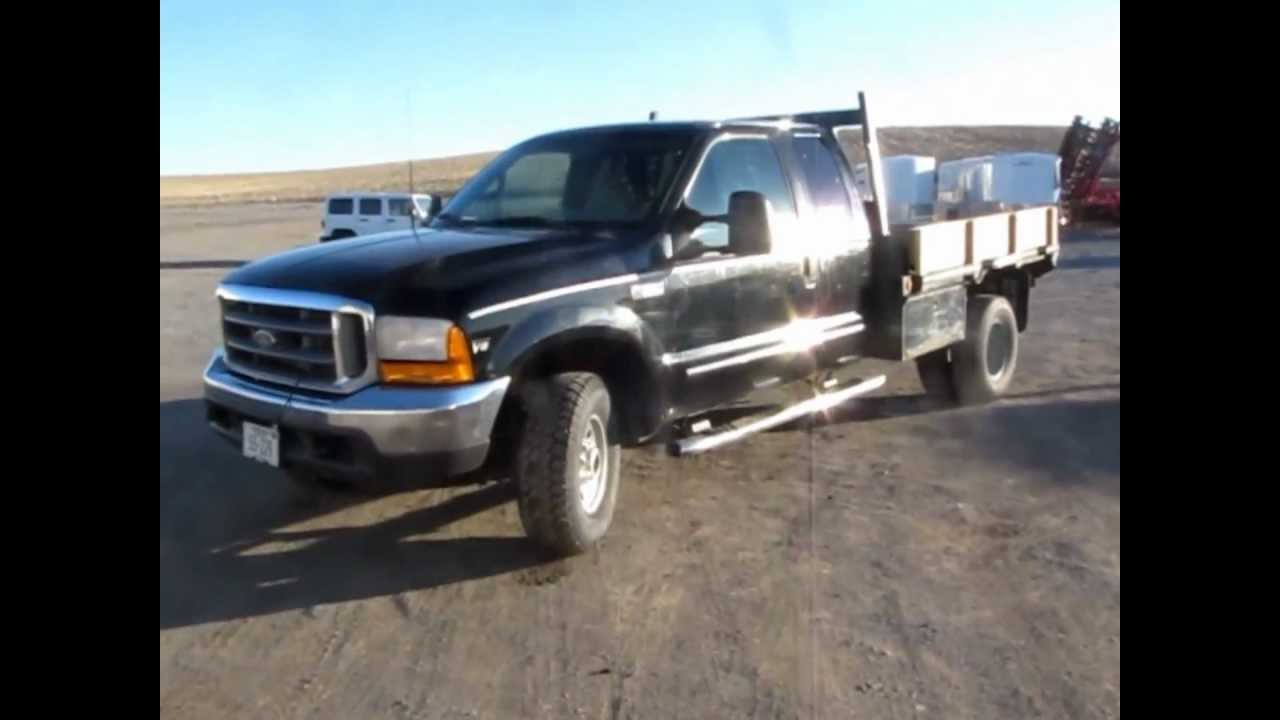 Flatbed Truck For Sale >> 1999 Ford F350 XLT SuperCab flatbed truck for sale | sold at auction March 20, 2013 - YouTube