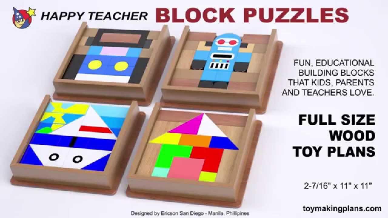 wood toy plans - happy teacher block puzzles