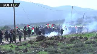 Israeli forces use tear gas to disperse Palestinians during anti-annexation protest