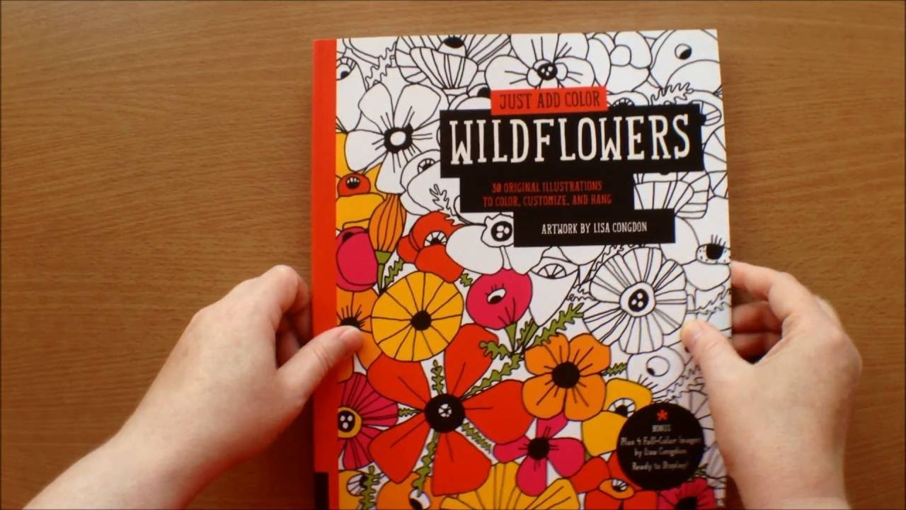 Just Add ColorWildflowers By Lisa Congdon Colouring Book Flipthrough