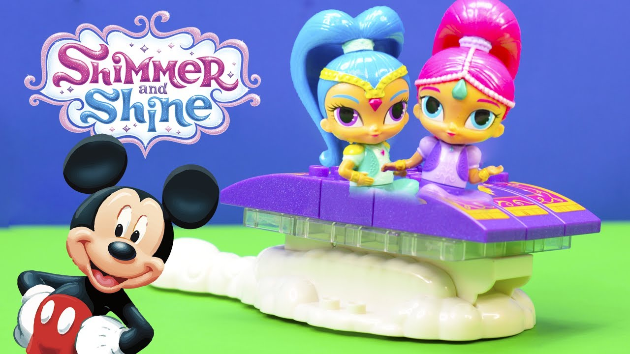new shimmer and shine magic carpet ride unboxing with mickey mouse