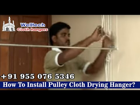 How To Install Pulley Cloth Drying Hanger Ceiling Roof Welltech Cloth Hangers Hyderabad India