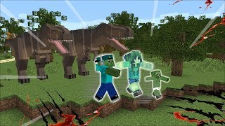 Minecraft ZOMBIE FAMILY SURVIVE DANGEROUS DINOSAUR ATTACK!! HIDE AND SEEK DINOSAURS!! Minecraft