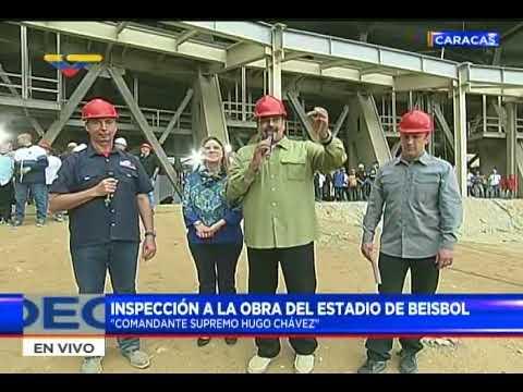 Maduro inspecciona estadio de beisbol Hugo Chávez en La Rinconada y da rueda de prensa
