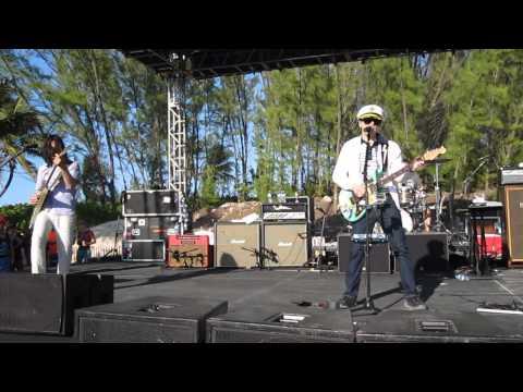 Weezer performing