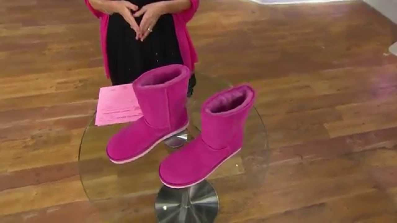 UGG Australia Classic Short Boots with Crystal Ribbon Detail with Jane Treacy - YouTube