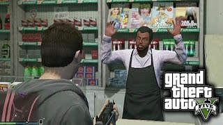 GTA 5 Funny Moments - ROBBING STORES AND ESCAPING ON A MOPED!
