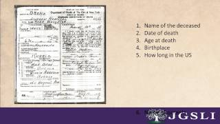 8 Pieces of Information on a NYC Death Certificate.