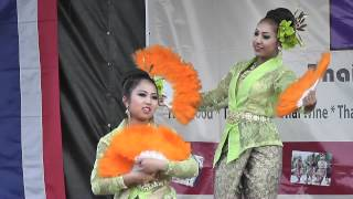 Fan Dance, Thai Festival in Kent, Danson Park, UK, 13th August 2011.