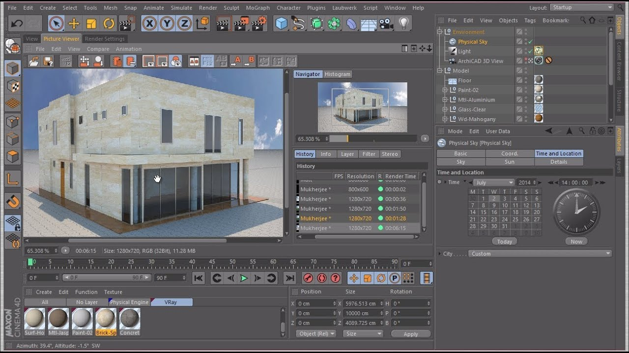 rendering an archicad model in cinema 4d with vray youtube. Black Bedroom Furniture Sets. Home Design Ideas