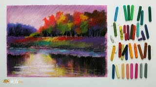 """Курс рисования """"Сухая пастель"""" Начинающие. Урок 4-2. Осенний пейзаж."""
