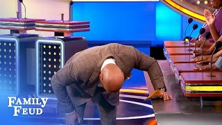 Steve Harvey completely LOSES IT over Mac's answer! | Family Feud